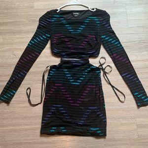 Bebe long sleeve cutout zipper minidress XXS